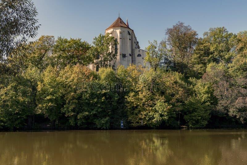 Historic building of the Sázava monastery on the banks. Of the river Sázava stock photo
