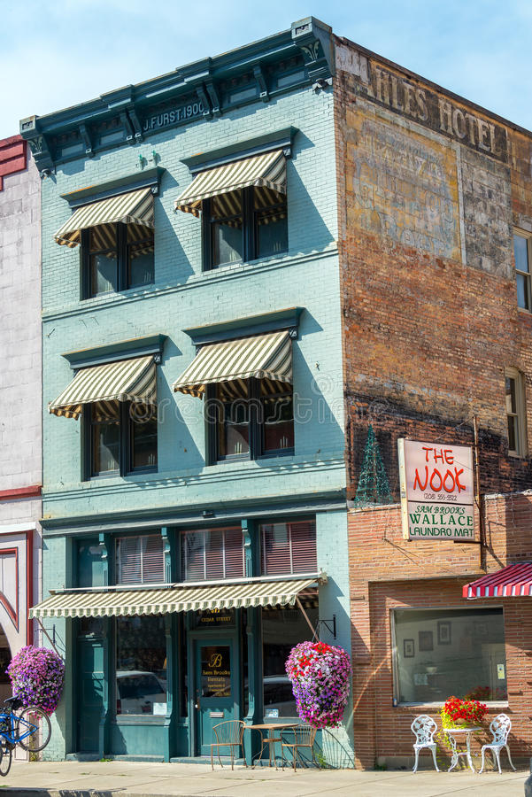 Historic Building in Wallace, Idaho. WALLACE, ID - AUGUST 20: Historic J. Furst building in the old mining town of Wallace, ID on August 20, n2015 royalty free stock photo