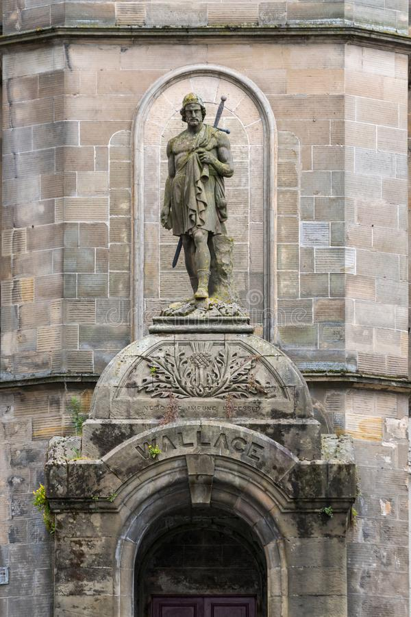 Historic Building with William Wallace Statue in Stirling. Historic Building with William Wallace Statue, Stirling stock images