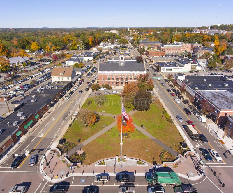 Historic buildings aerial view Needham, MA, USA. Town Hall and Historic building aerial view in Needham, Massachusetts, USA stock images