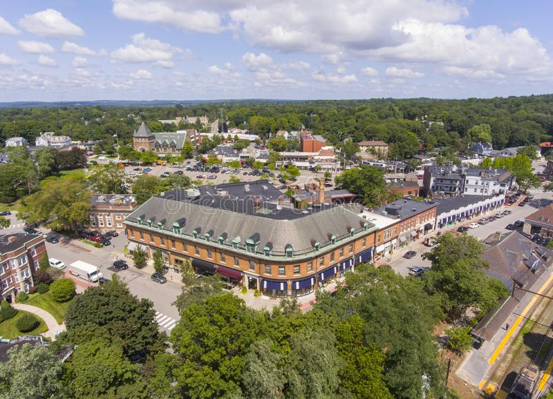 Historic buildings aerial view Newton, MA, USA. Historic building in Union Street Historic District aerial view in Newton Centre, Massachusetts, USA stock photography