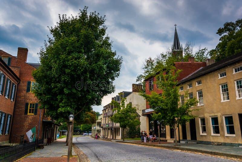 Historic buildings along Shenandoah Street in Harper's Ferry, We stock photo