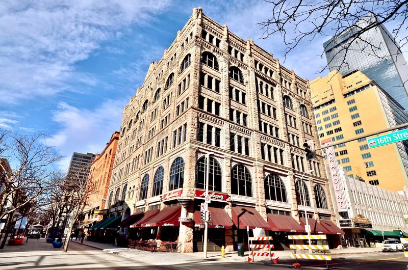 Historic buildings along 16th Street Mall in Denver, Colorado. Denver, Colorado / USA - January 2nd 2018: Historic buildings along 16th Street Mall in Downtown stock photography
