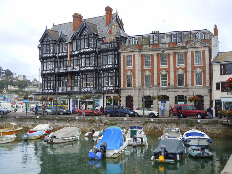 Historic buildings and boat harbour stock photo