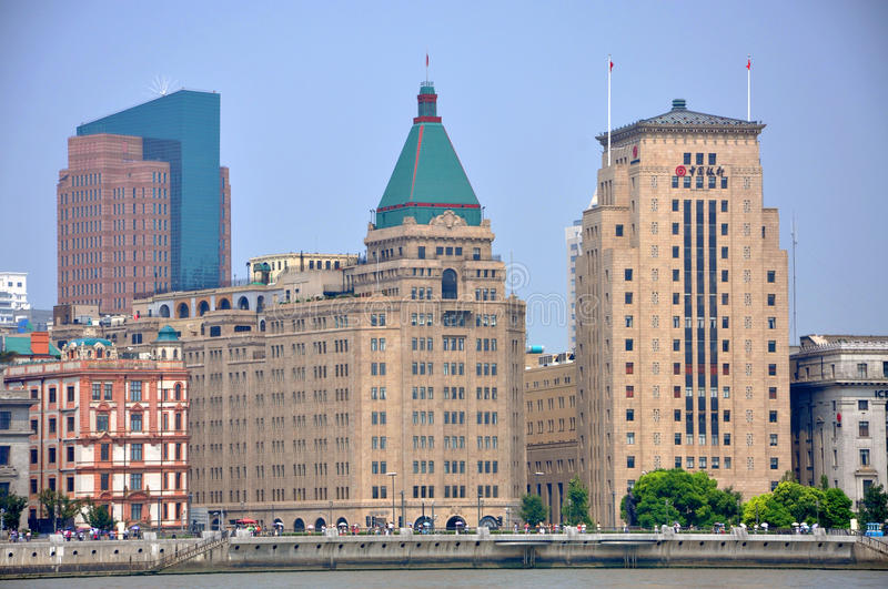 Historic Buildings in the Bund, Shanghai, China stock photo