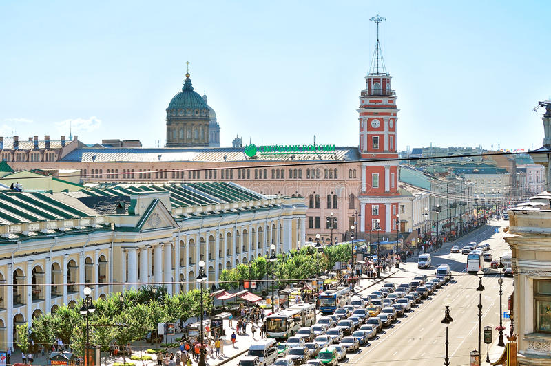 The historic buildings and central road on Nevsky Prospect - panorama from height. SAINT-PETERSBURG, RUSSIA - AUGUST 4, 2015. Birds eye view of the Nevsky stock image