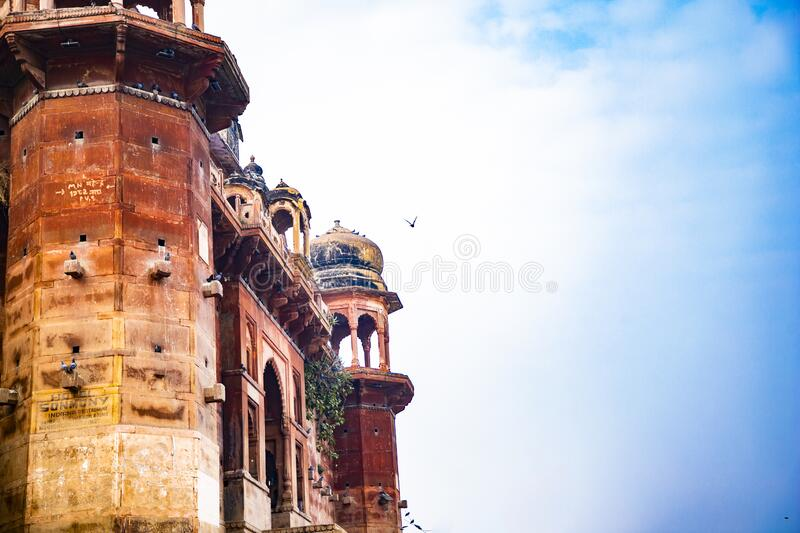 Historic buildings at the Chet Singh Ghat in Varanasi | Tourist Place royalty free stock images