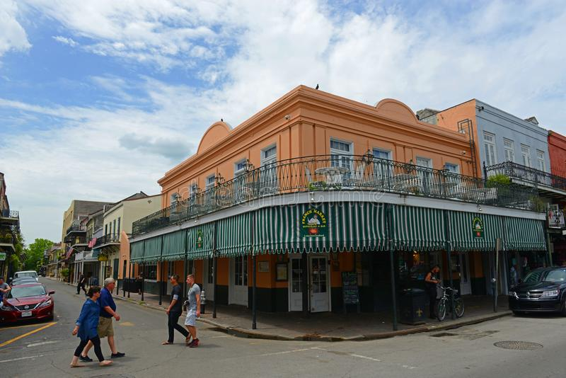 Decatur Street in French Quarter, New Orleans royalty free stock photo