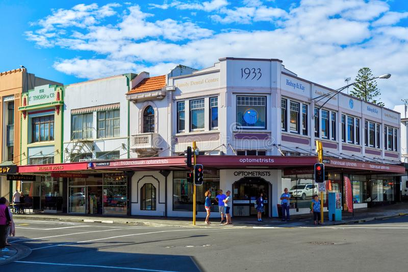 Historic buildings on the corner of Hastings and Tennyson Streets in Napier, New Zealand. Art Deco buildings in Napier, New Zealand. The town was largely rebuilt stock photo