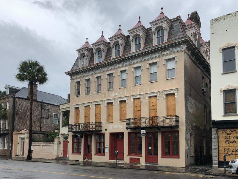 Bracing for Hurricane Dorian. Historic buildings in downtown Charleston, South Carolina are boarded up to protect them from Hurricane Dorian royalty free stock image