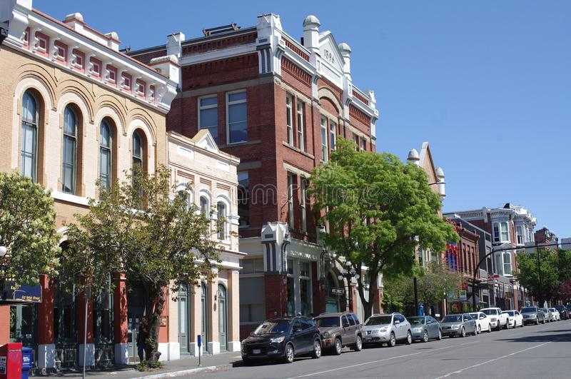 Historic buildings in downtown Victoria, Canada. Along Yates street, one of downtown Victoria`s most vibrant streets stock photos