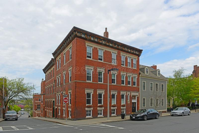 Historic Building in Charlestown, Boston, MA, USA. Historic Buildings on High Street at Green Street in Charlestown, Boston, Massachusetts, USA royalty free stock images