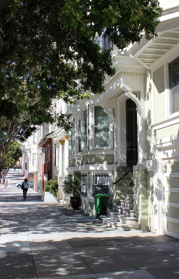 Historic buildings on the modern street of San Francisco, California, United States of America. Historic buildings on the modern street of San Francisco on a royalty free stock image