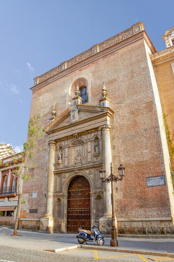 Historic buildings and monuments of Seville, Spain. Architectural details, stone facade royalty free stock photography
