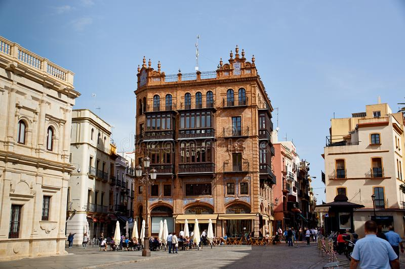 Historic buildings and monuments of Seville, Spain. Architectural details, stone facade stock photography