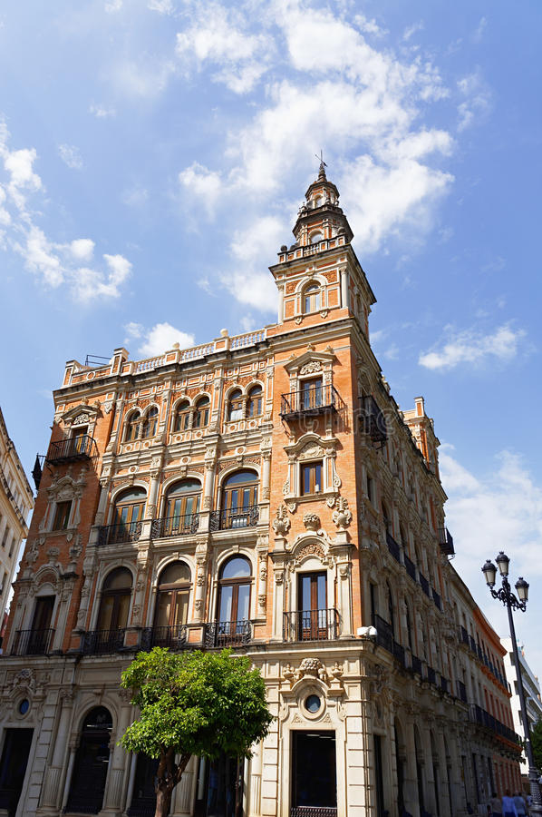 Historic buildings and monuments of Seville, Spain. Architectural details, stone facade. Historic buildings and monuments of Seville, Spain. Architectural royalty free stock photos