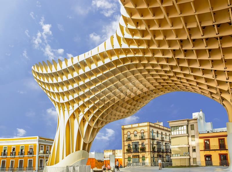 Historic buildings and monuments of Seville, Spain. Setas de Sevilla royalty free stock image