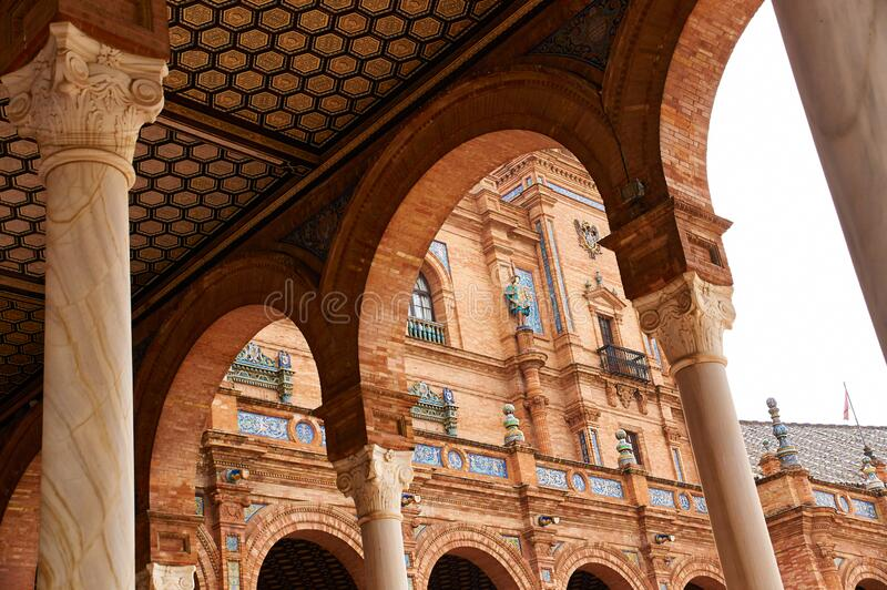 Historic buildings and monuments of Seville, Spain. Spanish architectural styles. Spain square stock image