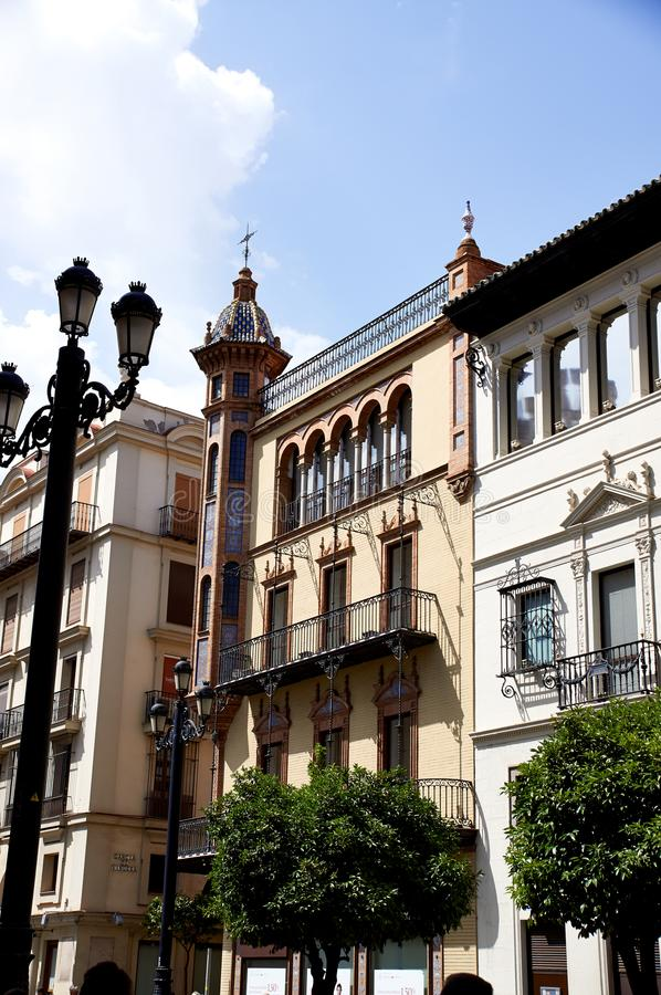 Historic buildings and monuments of Seville, Spain. Spanish architectural styles of Gothic and Mudejar, Baroque. Historic buildings and monuments of Seville stock images