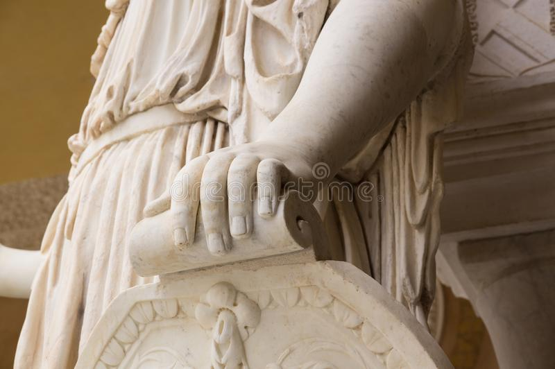 Historic buildings and monuments of Seville, Spain. hands. Statue. Marble. Historic buildings and monuments of Seville, Spain. Architectural details, stone royalty free stock photo