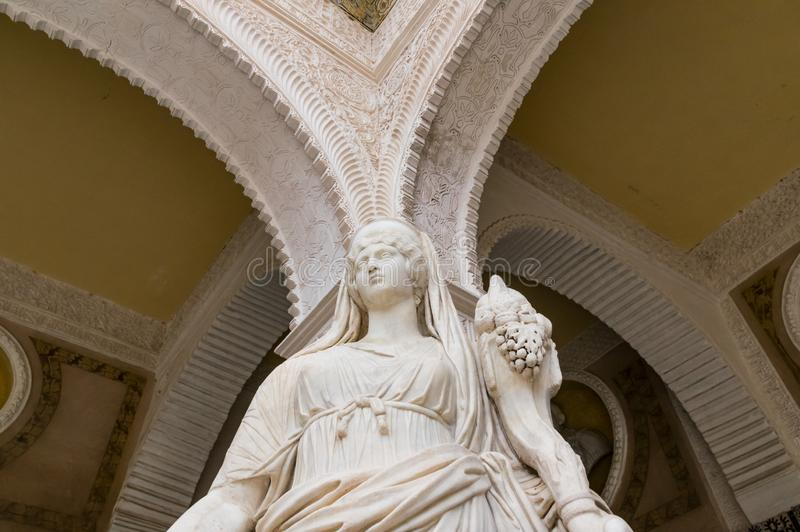 Historic buildings and monuments of Seville, Spain. hands. Statue. Marble. Historic buildings and monuments of Seville, Spain. Architectural details, stone royalty free stock images