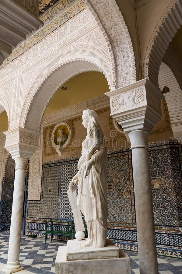 Historic buildings and monuments of Seville, Spain. hands. Statue. Marble. Historic buildings and monuments of Seville, Spain. Architectural details, stone royalty free stock photography
