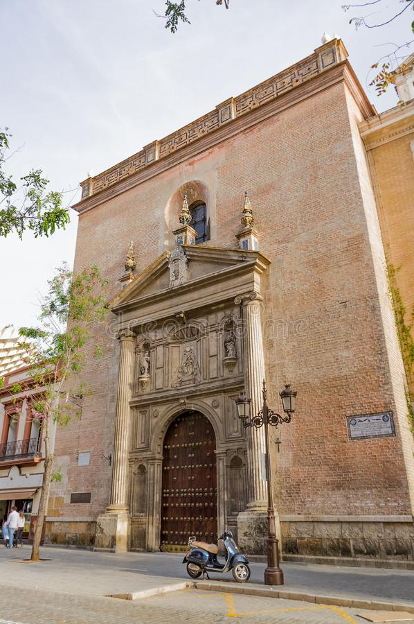 Historic buildings and monuments of Seville, Spain. hands. Statue. Marble. Architectural details royalty free stock photo