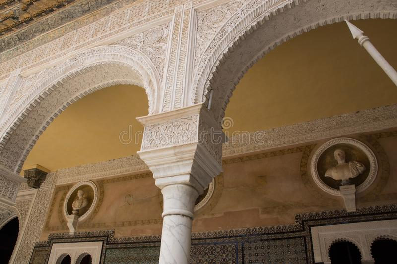 Historic buildings and monuments of Seville, Spain. hands. Statue. Marble. Historic buildings and monuments of Seville, Spain. Architectural details, stone stock photography