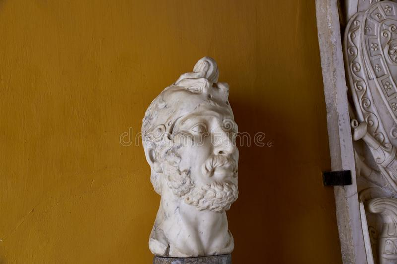 Historic buildings and monuments of Seville, Spain. Head. Statue. Marble. royalty free stock photo