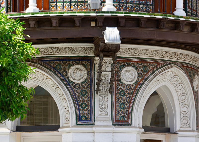 Historic buildings and monuments of Seville, Spain. Spanish architectural styles of Gothic and Mudejar, Baroque stock images