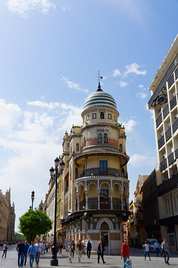 Historic buildings and monuments of Seville, Spain. Spanish architectural styles of Gothic and Mudejar, Baroque stock photography