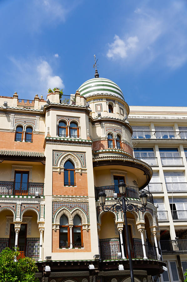 Historic buildings and monuments of Seville, Spain. Spanish architectural styles of Gothic and Mudejar, Baroque royalty free stock photos