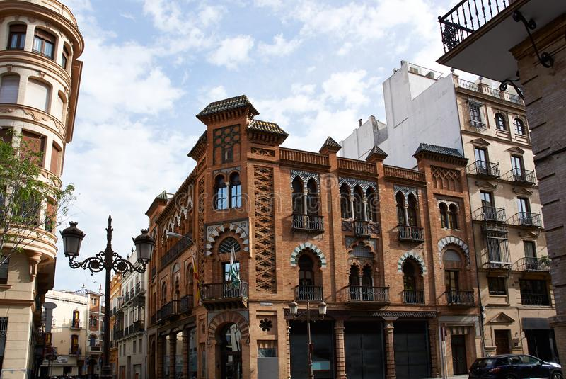 Historic buildings and monuments of Seville, Spain. Spanish architectural styles of Gothic and Mudejar, Baroque. Historic buildings and monuments of Seville stock photography
