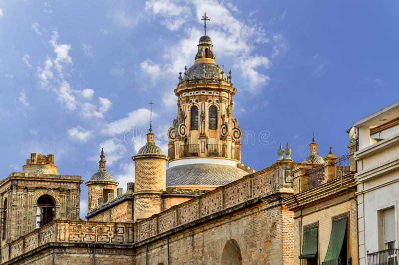Historic buildings and monuments of Seville, Spain. Spanish architectural styles of Gothic and Mudejar, Baroque. Historic buildings and monuments of Seville royalty free stock photos