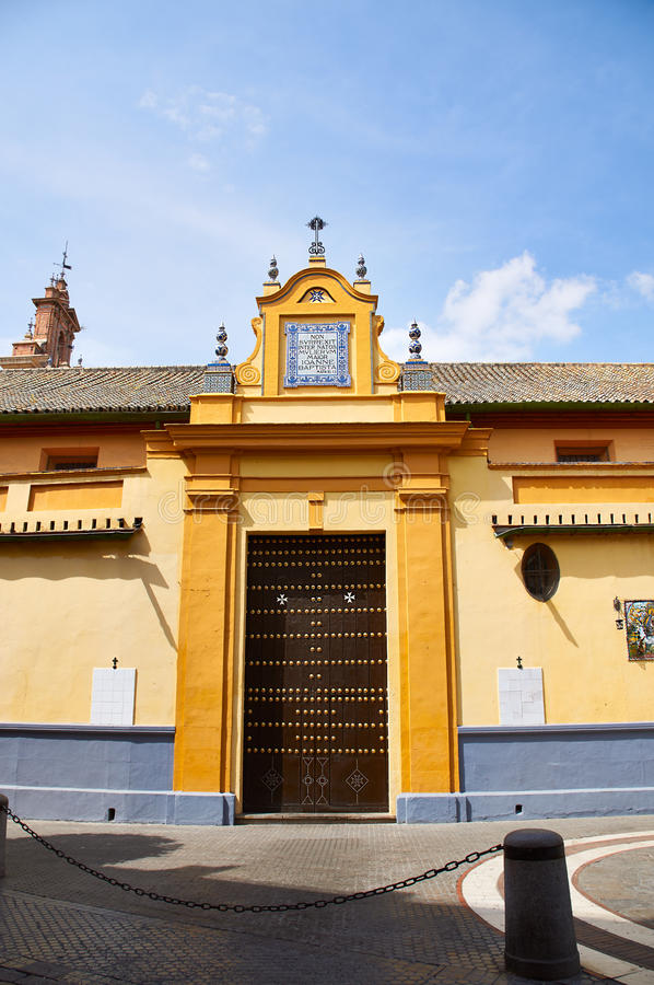 Historic buildings and monuments of Seville, Spain. Spanish architectural styles of Gothic. San Juan de la Palma. Historic buildings and monuments of Seville royalty free stock image