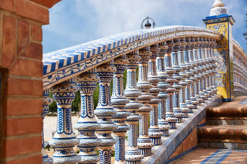 Historic buildings and monuments of Seville, Spain. Spanish architectural styles. Spain square stock photography