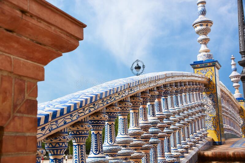 Historic buildings and monuments of Seville, Spain. Spanish architectural styles. Spain square royalty free stock photo