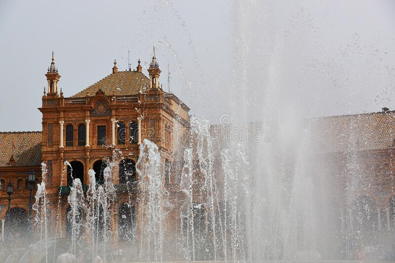 Historic buildings and monuments of Seville, Spain. Spanish architectural styles. Spain square stock images