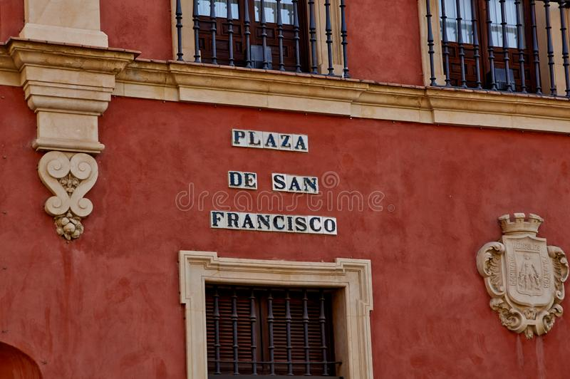 Historic buildings and monuments of Seville, Spain. Spanish. PLAZA de San FRANCISCO stock photography