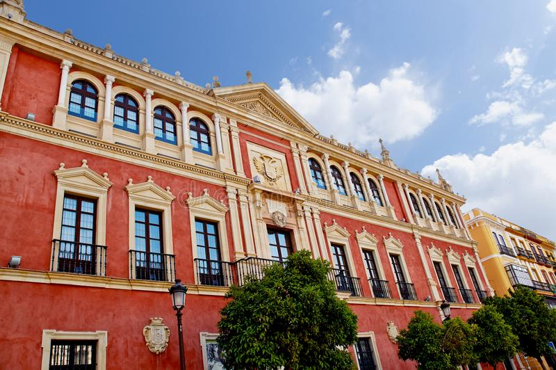 Historic buildings and monuments of Seville, Spain. Spanish. PLAZA de San FRANCISCO royalty free stock photo