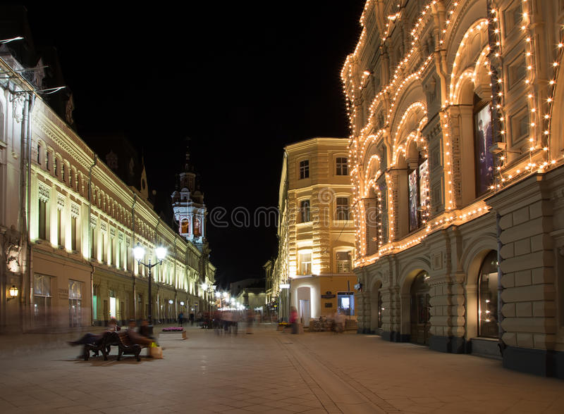 Download Historic Buildings On Nikolskaya Street Near The Moscow Kremlin At Night, Stock Image - Image of places, square: 34047397