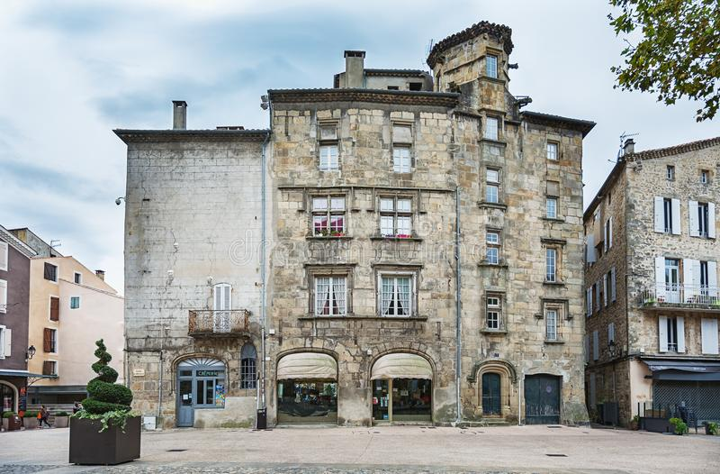 Historic buildings in the old town of Aubenas stock photo