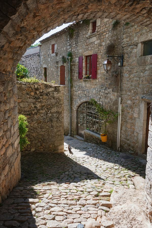 Historic buildings in the old village of Labeaume in the Ardeche region of France royalty free stock photography