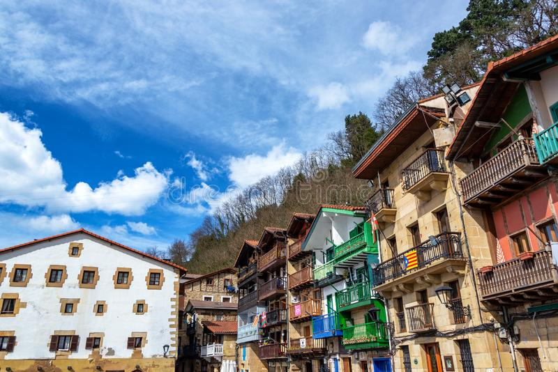 Historic buildings in Pasai Donibane, Spain. Beautiful historic buildings in the small town of Pasai Donibane in the Basque Country in Spain royalty free stock photography