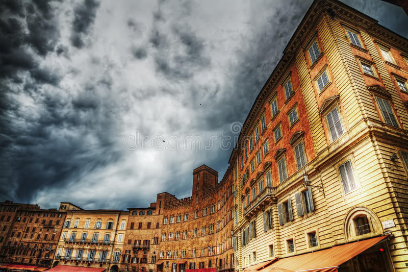 Historic buildings in Piazza del Campo royalty free stock image
