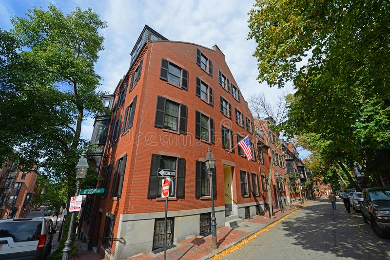 Historic Buildings on Beacon Hill, Boston, USA. Historic Buildings on Pinckney Street at West Cedar Street on Beacon Hill, Boston, Massachusetts, USA royalty free stock photography