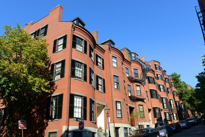 Historic Buildings on Beacon Hill, Boston, USA. Historic Buildings on Pinckney Street at West Cedar Street on Beacon Hill, Boston, Massachusetts, USA stock photography
