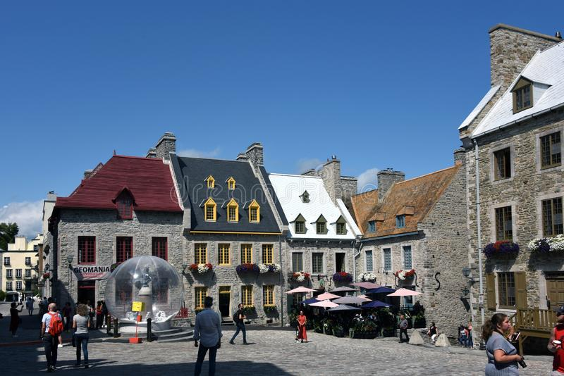 The historic buildings of Place Royale in Old Quebec City royalty free stock photo