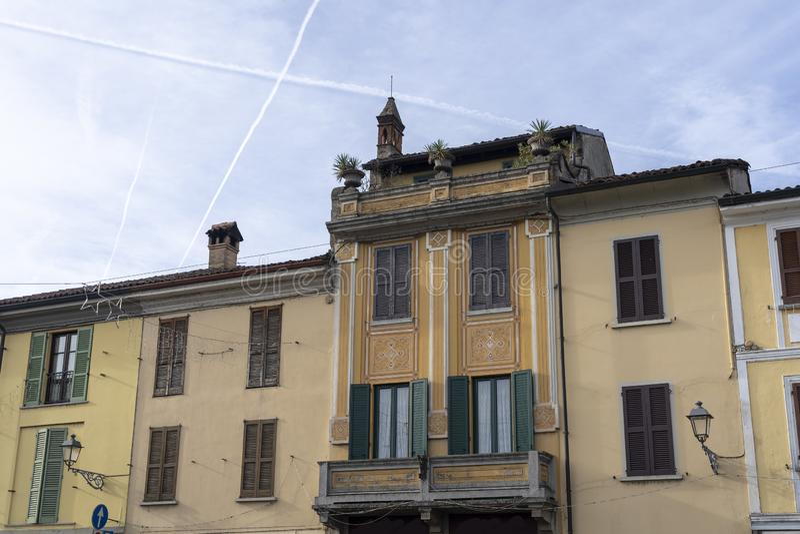 Historic buildings of San Colombano al Lambro, Italy. Historic buildings in the main square of San Colombano al Lambro, Milan, Lombardy, Italy royalty free stock photography