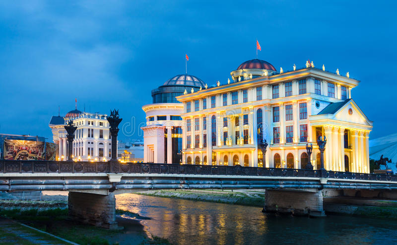 Historic buildings in Skopje in a beautiful summer night. Macedonia stock photography